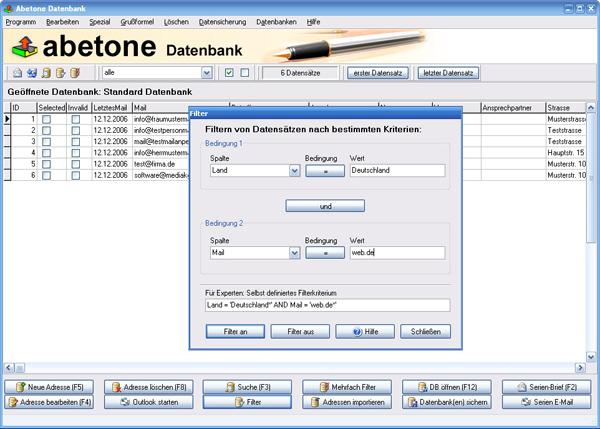 Funktionsumfang der abetone software zum datenbank erstellen