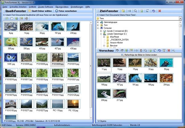 Bilder sortieren mit dem Fotoverwaltungsprogramm